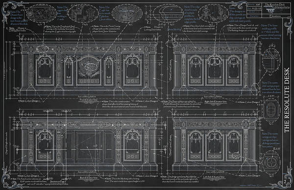 Blueprints Art Print featuring the drawing The Resolute Desk Blueprints - Chalkboard by Kenneth Perez