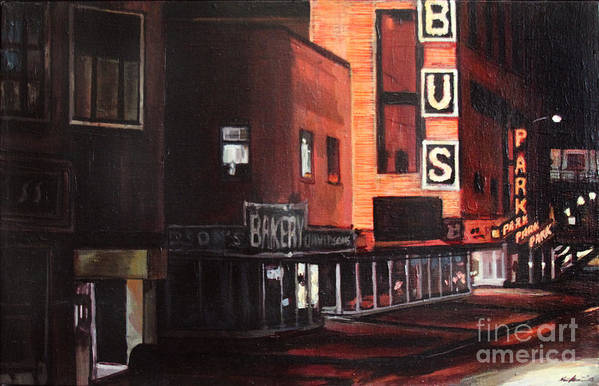 Chicago Art Print featuring the painting Randolph At Night by Christopher Buoscio