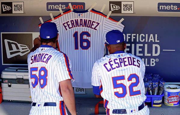 Hanging Art Print featuring the photograph Yoenis Cespedes by Adam Hunger