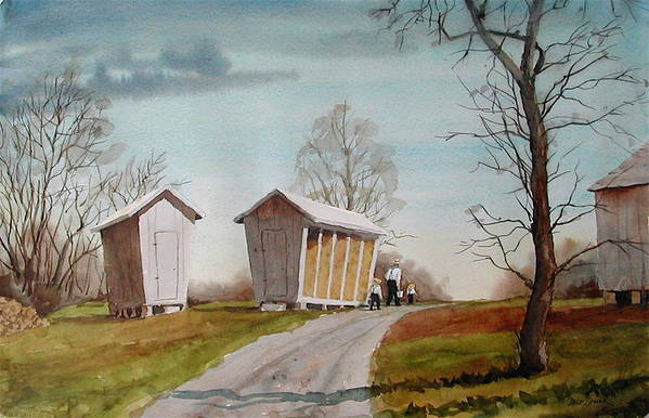 Farm Art Print featuring the painting Amish Corncribs by Faye Ziegler