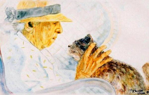 Marjory Art Print featuring the painting Marjory And Her Cat by Ruth Mabee