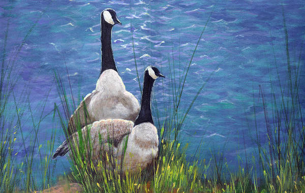 Landscape Art Print featuring the painting Resting Geese by SueEllen Cowan