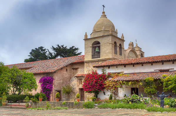 American Print featuring the photograph Facade Of The Chapel Mission San Carlos Borromeo De Carmelo by Ken Wolter
