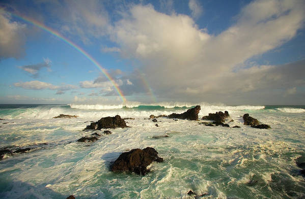 Air Art Art Print featuring the photograph Usa, Hawaii, Rainbow Offshore by Ron Dahlquist