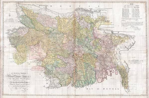 1776 Rennell Dury Wall Map Of Bihar And Bengal India Art Print By