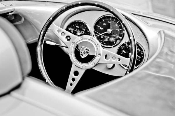 1955 Porsche Spyder Replica Steering Wheel Emblem Art Print featuring the photograph 1955 Porsche Spyder Replica Steering Wheel Emblem by Jill Reger