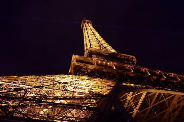Landmark Eiffel Tower Paris France At Night Photography Art Print featuring the photograph Eiffel Tower Paris France by Patricia Awapara