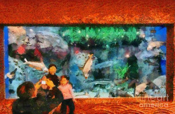Paint; Painting; Paintings; Shanghai; China; Asia; City; Ocean; Aquarium; Fish; Fishes; Water; Family; Photography; Photograph; Taking Pictures; Chinese; East; Eastern; Modern; Holidays; Vacation; Travel; Trip; Voyage; Journey; Tourism; Touristic Art Print featuring the painting Ocean Aquarium In Shanghai by George Atsametakis