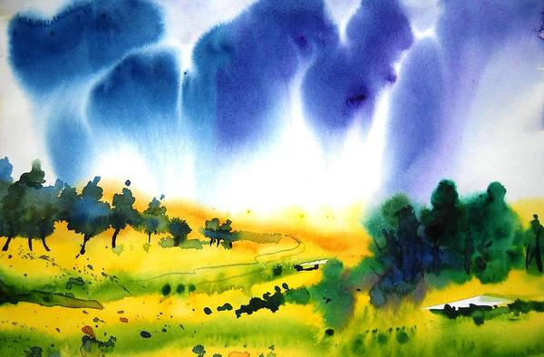Landscape Art Print featuring the painting Sold by Sanjay Punekar