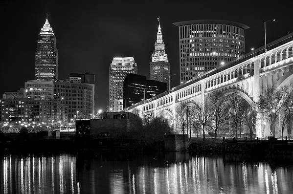 Cleveland Art Print featuring the photograph Black And White Cleveland Iconic Scene by Frozen in Time Fine Art Photography