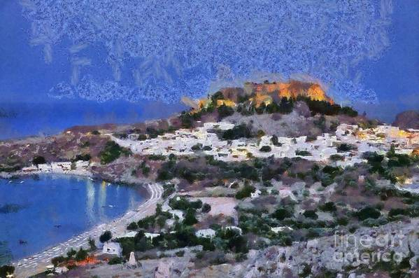 Rhodes Art Print featuring the painting Acropolis Village And Beach Of Lindos by George Atsametakis