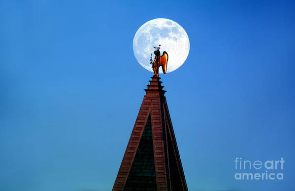 Campanile Art Print featuring the photograph An Angel And The Camponile With The Moon by Wernher Krutein