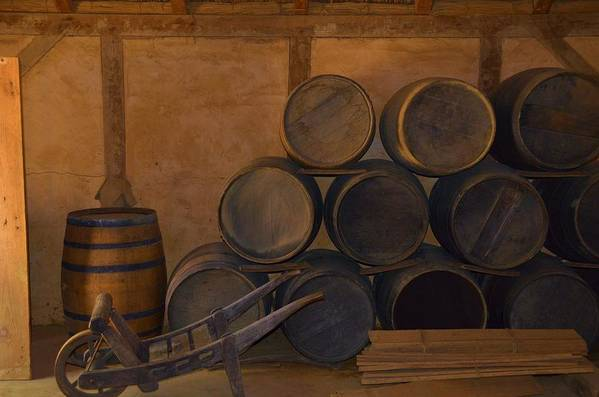 Wood Art Print featuring the photograph Antique Barrels And Carte by Richard Jenkins
