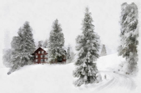 Aquarell Art Print featuring the digital art Aquarell - Beautiful Winter Landscape With Trees And House by Matthias Hauser