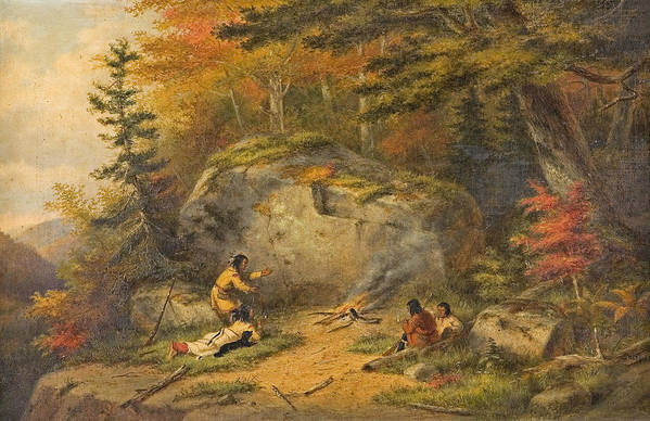 Native Art Print featuring the painting Autumn In West Canada Chippeway Indians by Pam Neilands