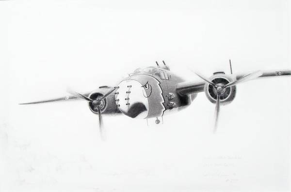 Aviation Art Art Print featuring the drawing B-25 Mitchell by Scott Alcorn