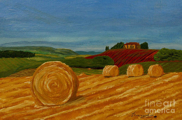 Hay Art Print featuring the painting Field Of Golden Hay by Anthony Dunphy
