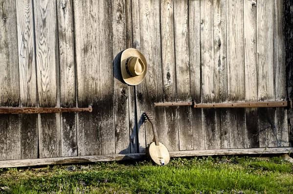 Barn Art Print featuring the photograph Barn Door And Banjo Mandolin by Bill Cannon