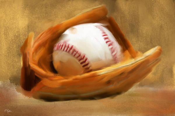 Baseball Art Print featuring the digital art Baseball V by Lourry Legarde