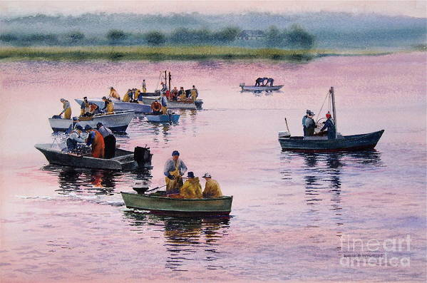 Boats Art Print featuring the painting Bass River Scallopers by Karol Wyckoff