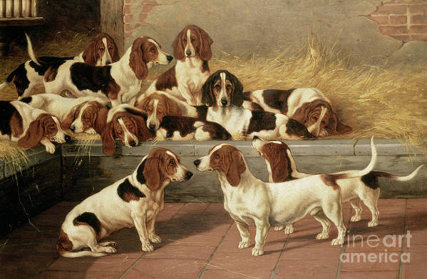 Dog Art Print featuring the painting Basset Hounds In A Kennel by VT Garland