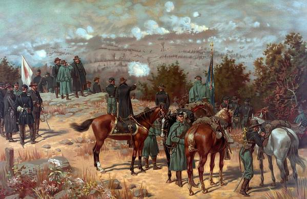 Battle Of Chattanooga Art Print featuring the painting Battle Of Chattanooga by American School
