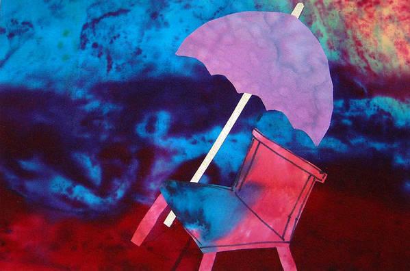 Beach Scene Art Print featuring the mixed media Beach Umbrella by Antigone StClair