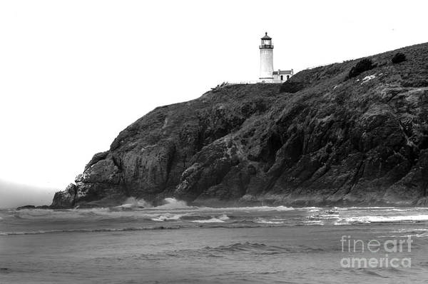 Black And White Art Print featuring the photograph Beach View Of North Head Lighthouse by Robert Bales