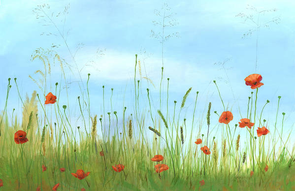 Orange Poppies Poppy Oil Canvas Field Italy Italian Art Floral Flowers Cecilia Brendel Print featuring the painting Big Orange Poppies by Cecilia Brendel