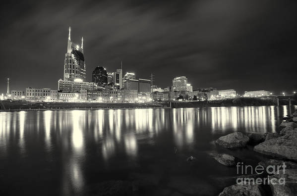 Nashville Art Print featuring the photograph Black And White Image Of Nashville Tn Skyline by Jeremy Holmes