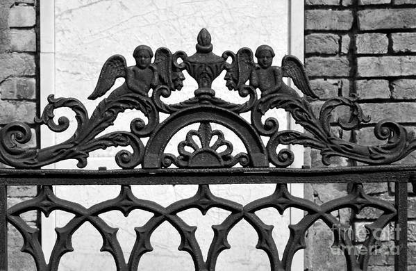 St. Louis Cemetery 1 Art Print featuring the pyrography Black And White Ironwork by Alys Caviness-Gober
