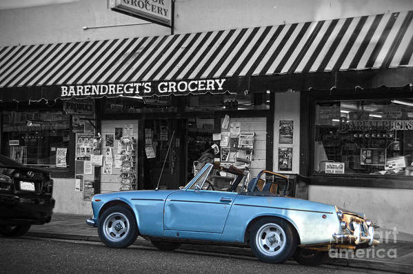 Car Print featuring the photograph Blue Classic Car In Jamestown by RicardMN Photography