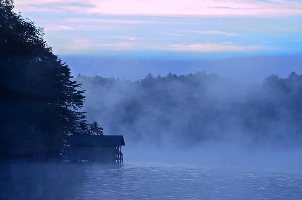 Blue Art Print featuring the photograph Blue Dawn Mist by Susan Leggett