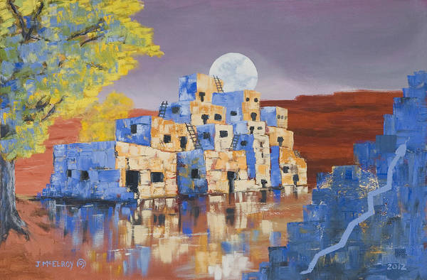 Landscape Art Print featuring the painting Blue Serpent Pueblo by Jerry McElroy