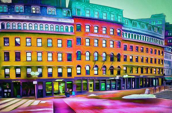 Boston Art Print featuring the digital art Boston Colors 1 by Yury Malkov