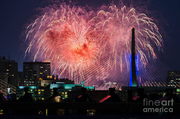 Fireworks Art Print featuring the photograph Boston Fireworks 1 by Mike Ste Marie