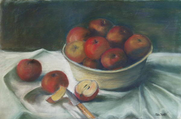 Still Life Art Print featuring the painting Bowl Of Apples by Ellen Minter