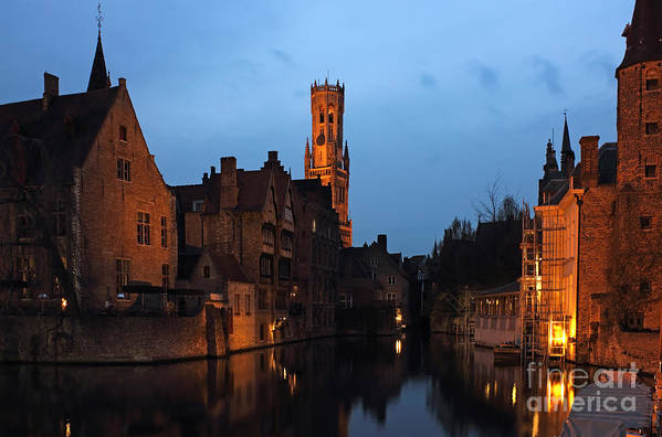 Reflection Print featuring the photograph Bruges Rozenhoedkaai Night Scene by Kiril Stanchev