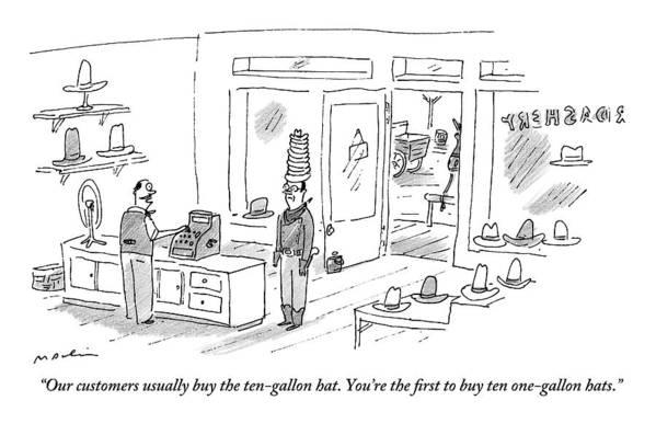 e3c4bfa4565 Cashier In A Hat Shop Talks To A Man Buying Ten Art Print by Michael Maslin