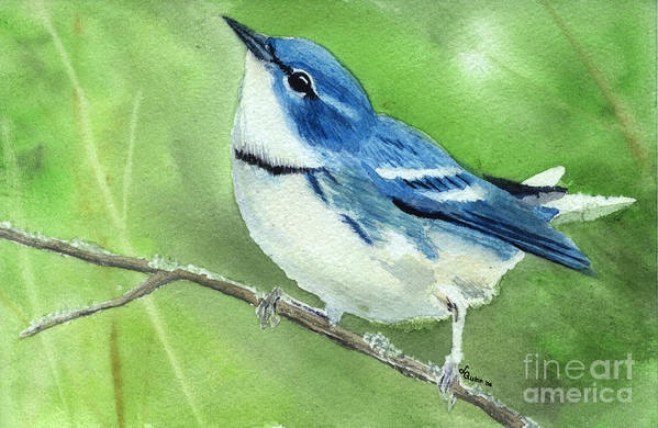 Bird Art Print featuring the painting Cerulean Warbler by Lynn Quinn