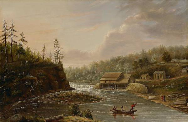 Cheever's Mill; St. Croix River; Landscape; Minnesota; Mill; Building; Industry; Industrial; Industrialisation; Boat; Figures; Houses; Buildings; Exterior; Flowing; Water; Trees; Woodland; Logging; Timber; America; American; Usa; Settlers; Settlement; Hudson River School; Wood Print featuring the painting Cheevers Mill On The St. Croix River by Henry Lewis