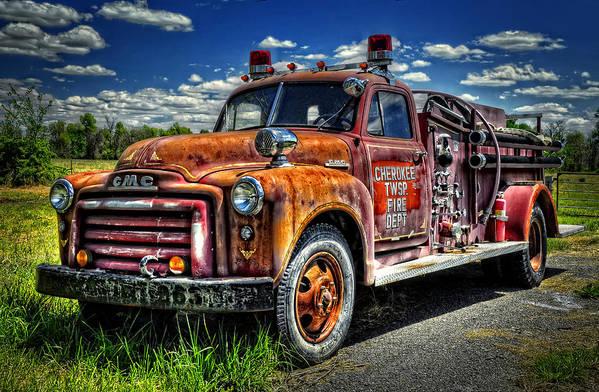Kansas Art Print featuring the photograph Cherokee Fire Truck by Ken Smith
