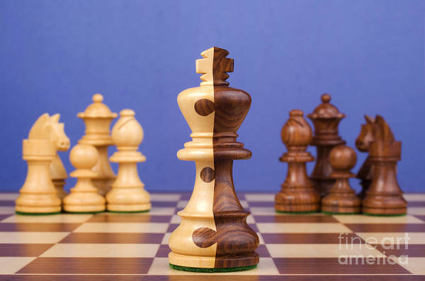 Chess Art Print featuring the photograph Chess Corporate Merger by Colin and Linda McKie