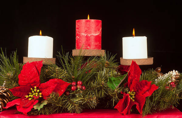 Christmas Print featuring the photograph Christmas Candle Trio by Kenneth Sponsler