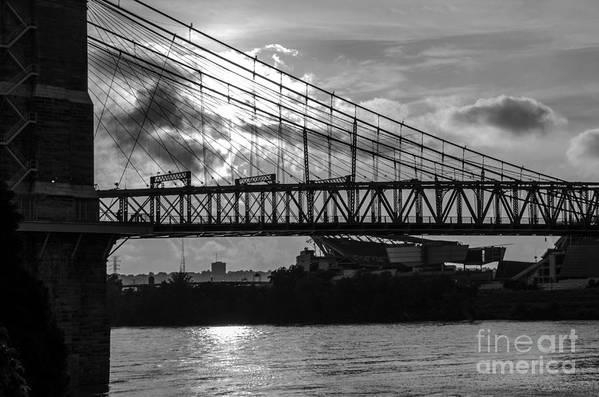 Bridges Art Print featuring the photograph Cincinnati Suspension Bridge Black And White by Mary Carol Story