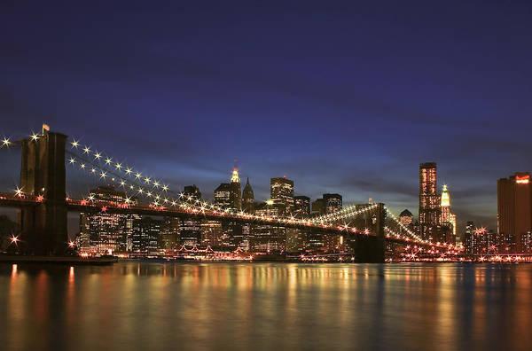 Bridge Art Print featuring the photograph City Of Lights by Evelina Kremsdorf