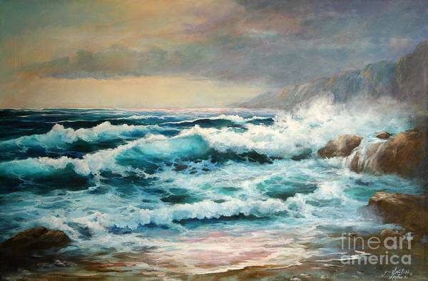 Seascape Art Print featuring the painting Clear Aqua Waters by Gail Salitui