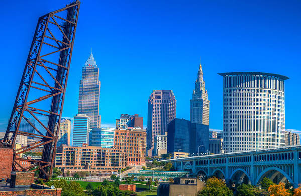 Cleveland Art Print featuring the photograph Cleveland Skyline Daytime by Matt Shiffler