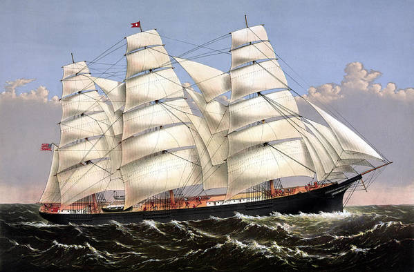 Print featuring the painting Clipper Ship Three Brothers by War Is Hell Store