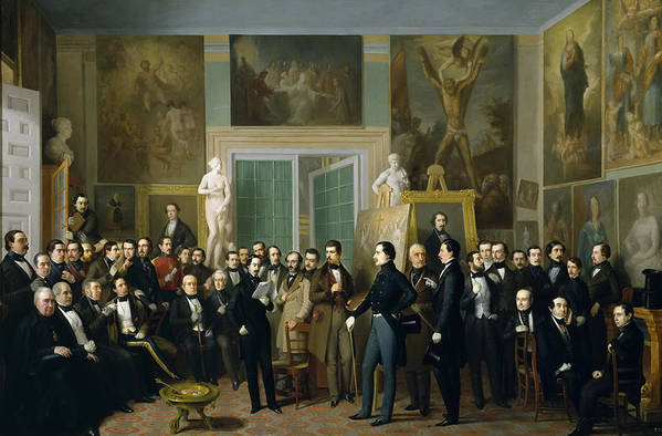 Antonio Maria Esquivel Art Print featuring the painting Contemporary Poets. A Reading By Zorilla In The Painters Studio by Antonio Maria Esquivel